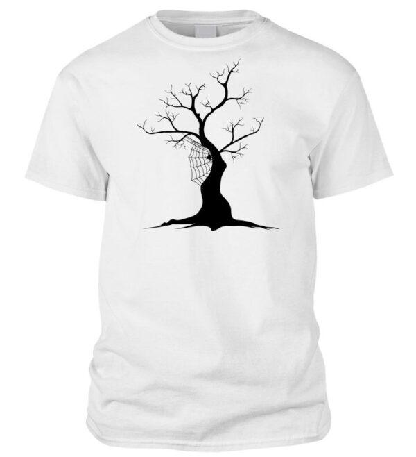 Halloweeni korhadt fa és pókhálós póló