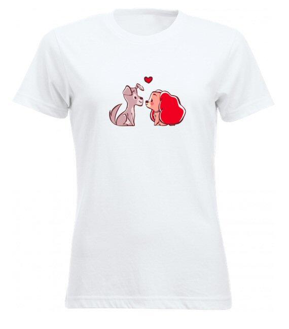 Kutyusos női póló Valentin napra