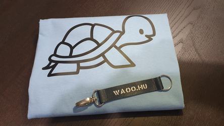 Elkészített és beküldött teknősös kék női póló - Waoo.hu